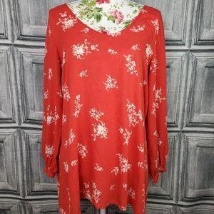 BillaBong Red Floral Blouse sz L